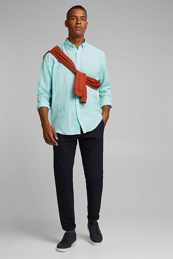 Button-Down-Hemd aus 100% Leinen, LIGHT AQUA GREEN, detail image number 4