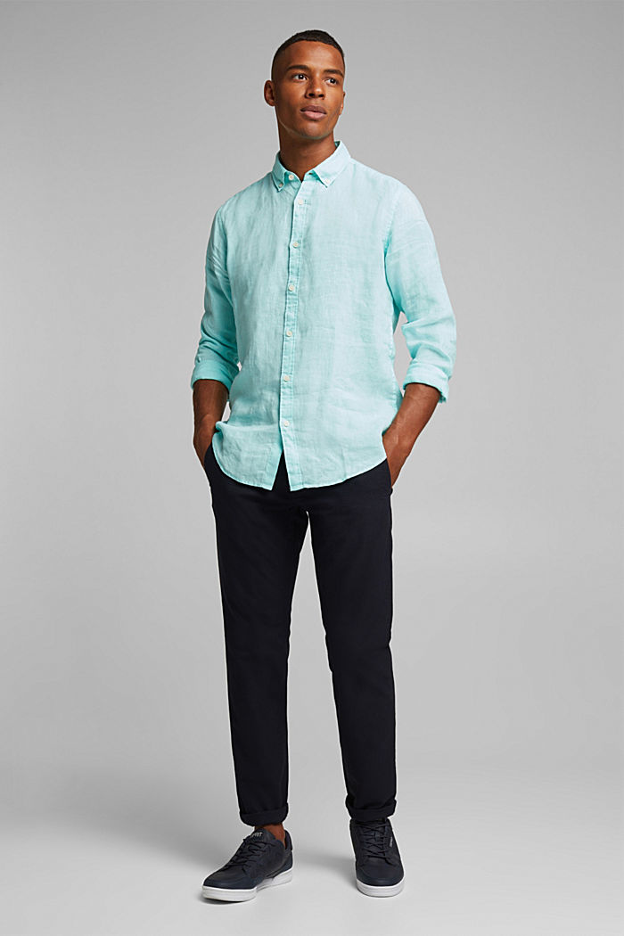 Button-Down-Hemd aus 100% Leinen, LIGHT AQUA GREEN, detail image number 1
