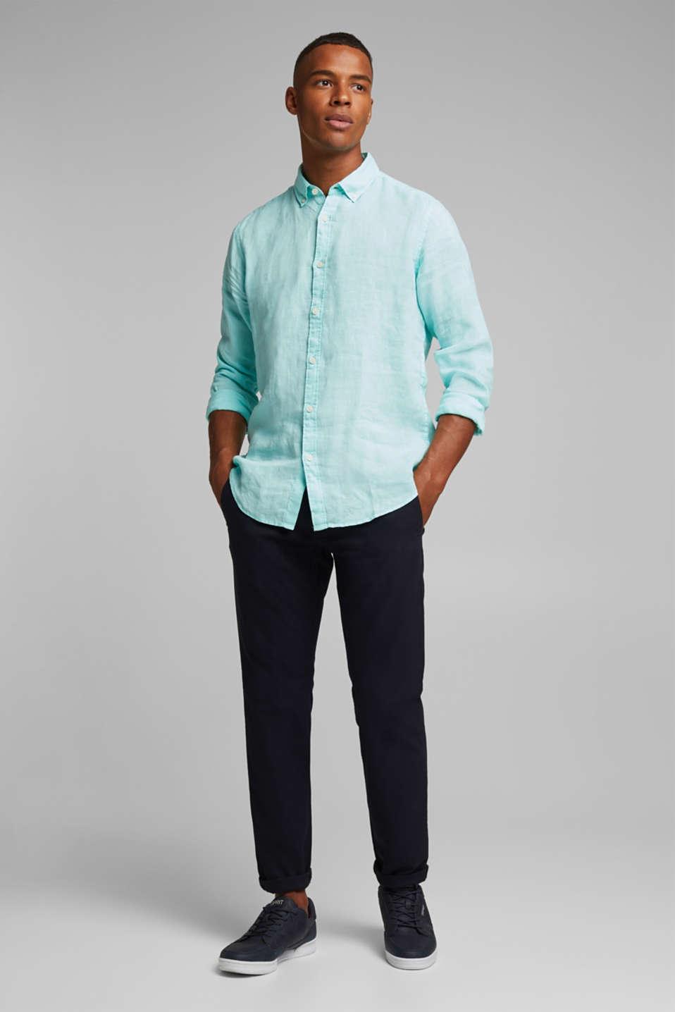 Button-down shirt made of 100% linen, LIGHT AQUA GREEN 2, detail image number 1