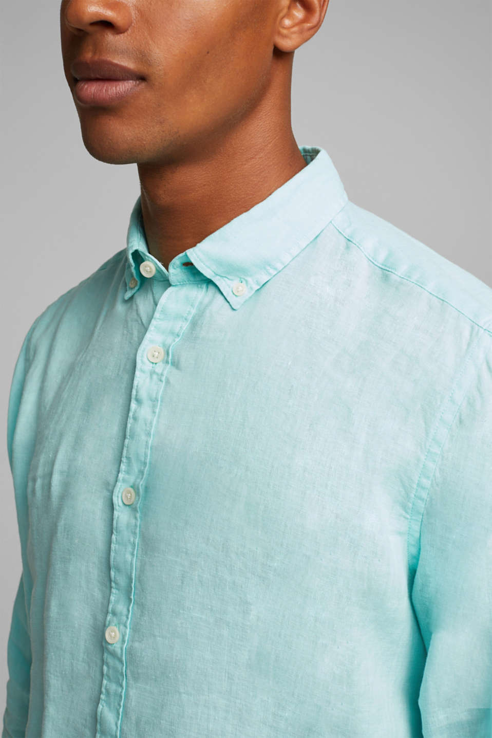 Button-down shirt made of 100% linen, LIGHT AQUA GREEN 2, detail image number 2
