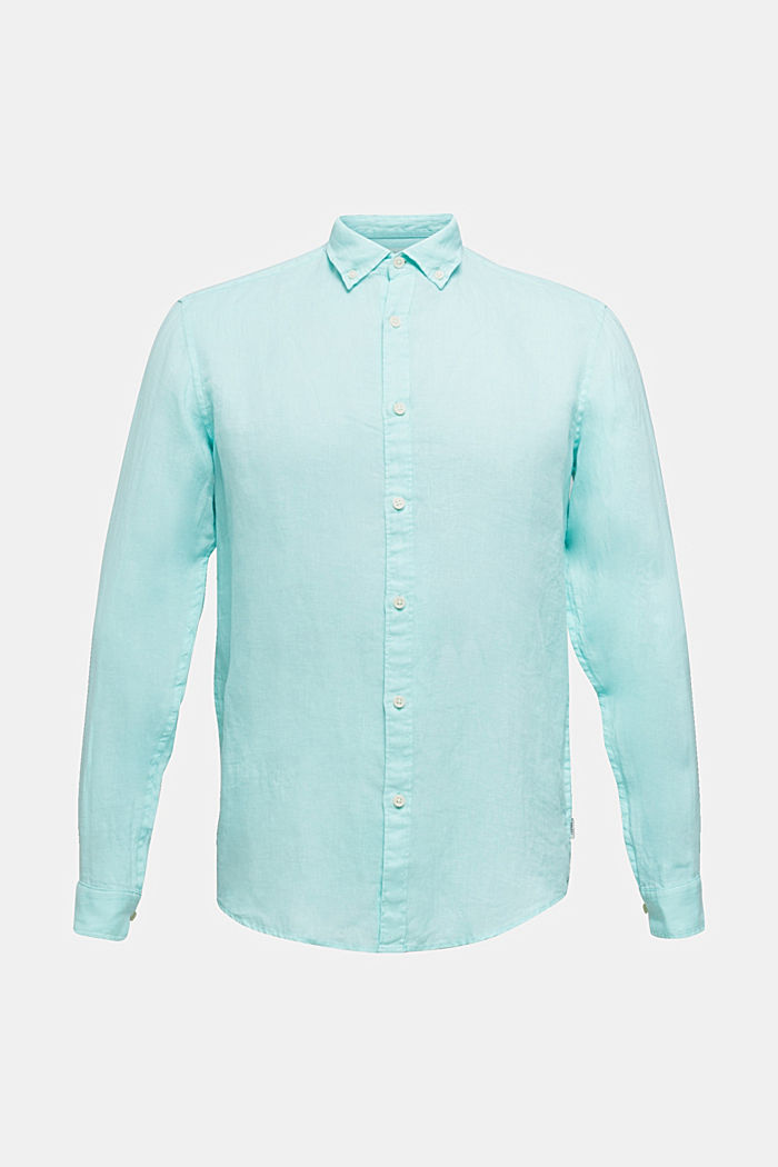 Button-Down-Hemd aus 100% Leinen, LIGHT AQUA GREEN, detail image number 5