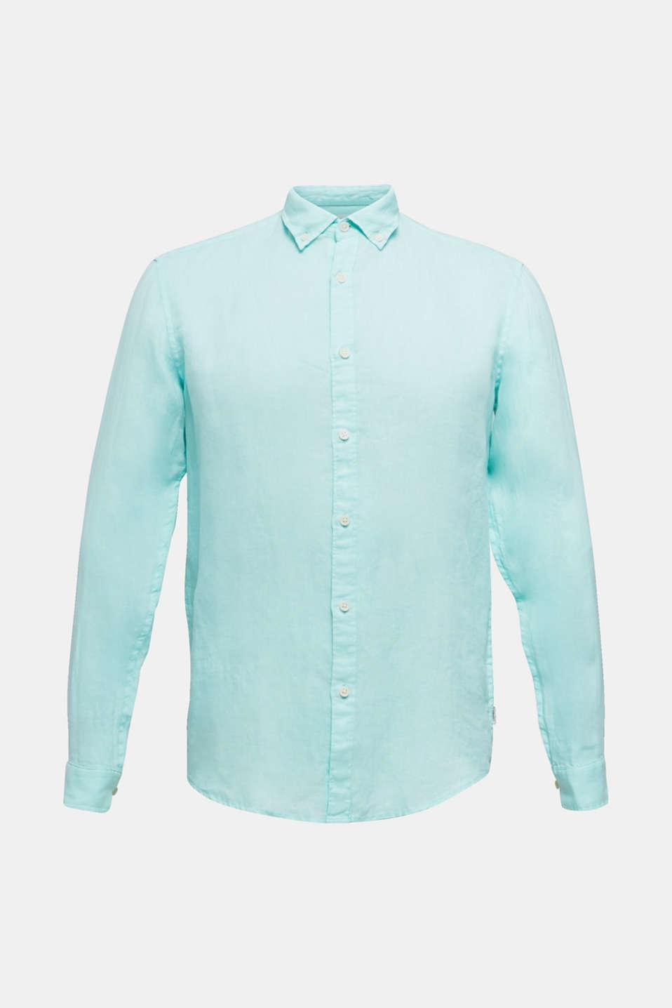 Button-down shirt made of 100% linen, LIGHT AQUA GREEN 2, detail image number 5
