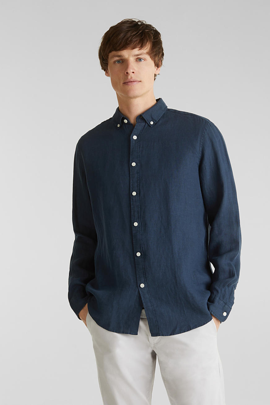 Button-Down-Hemd aus 100% Leinen