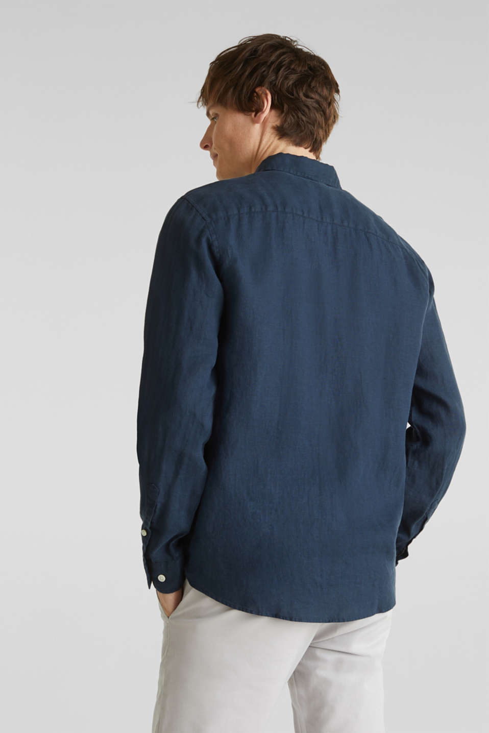 Button-down shirt made of 100% linen, DARK BLUE, detail image number 3