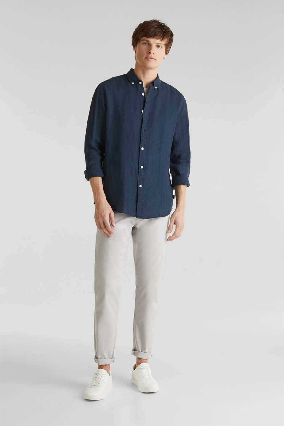 Button-down shirt made of 100% linen, DARK BLUE, detail image number 1