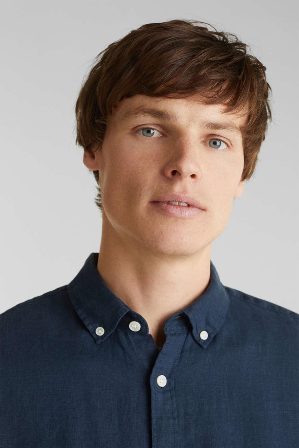 Button-down shirt made of 100% linen, DARK BLUE, detail image number 2
