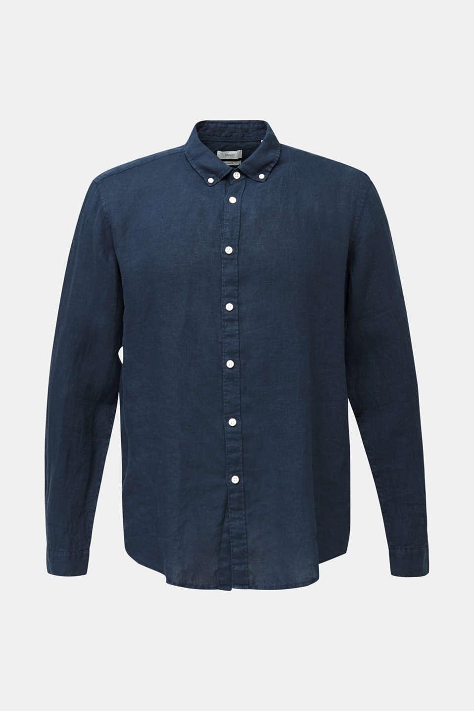 Button-down shirt made of 100% linen, DARK BLUE, detail image number 6