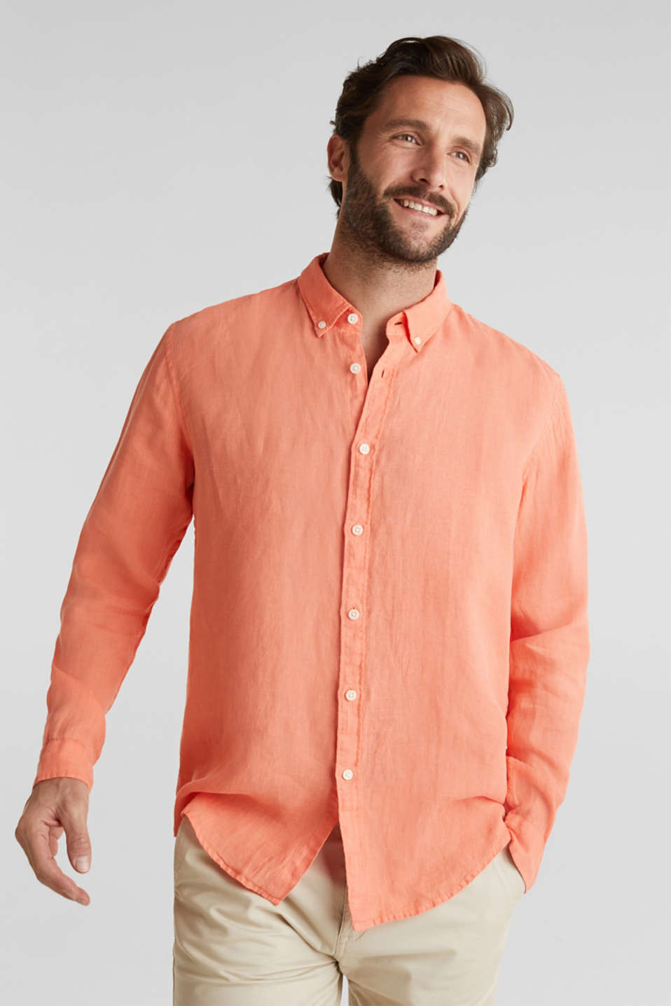 Button-down shirt made of 100% linen, RUST ORANGE, detail image number 0