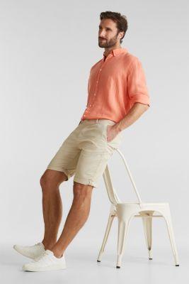 Button-down shirt made of 100% linen, RUST ORANGE, detail
