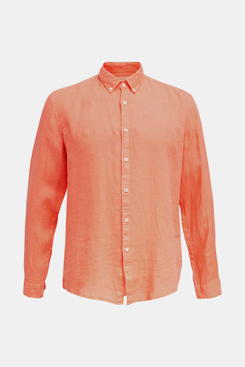 Button-down shirt made of 100% linen, RUST ORANGE, detail image number 7