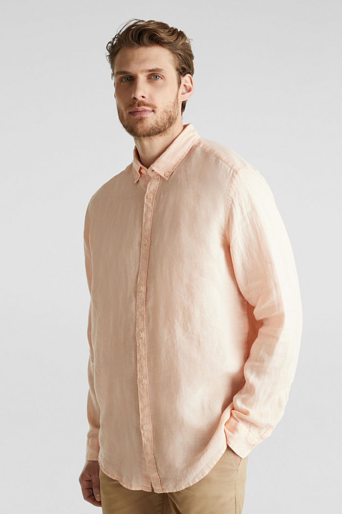 Button-down shirt made of 100% linen, PEACH, detail image number 0