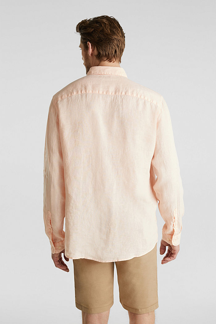 Button-down shirt made of 100% linen, PEACH, detail image number 3