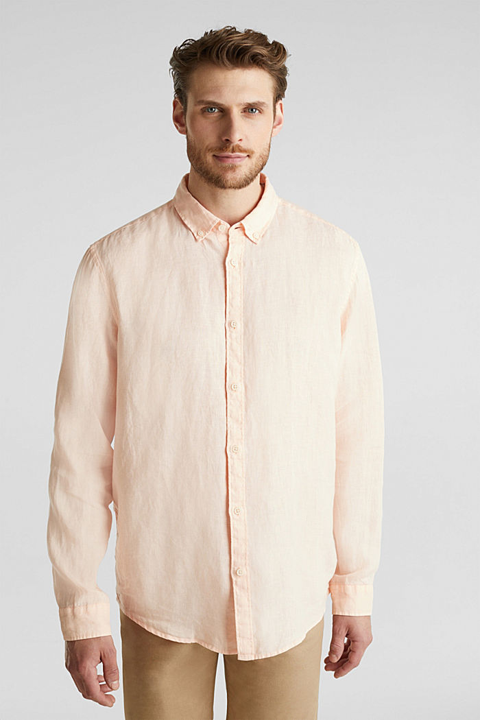 Button-down shirt made of 100% linen, PEACH, detail image number 5