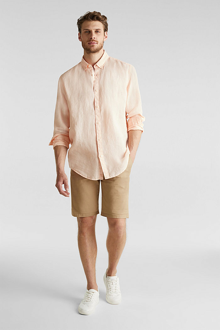 Button-down shirt made of 100% linen, PEACH, detail image number 1