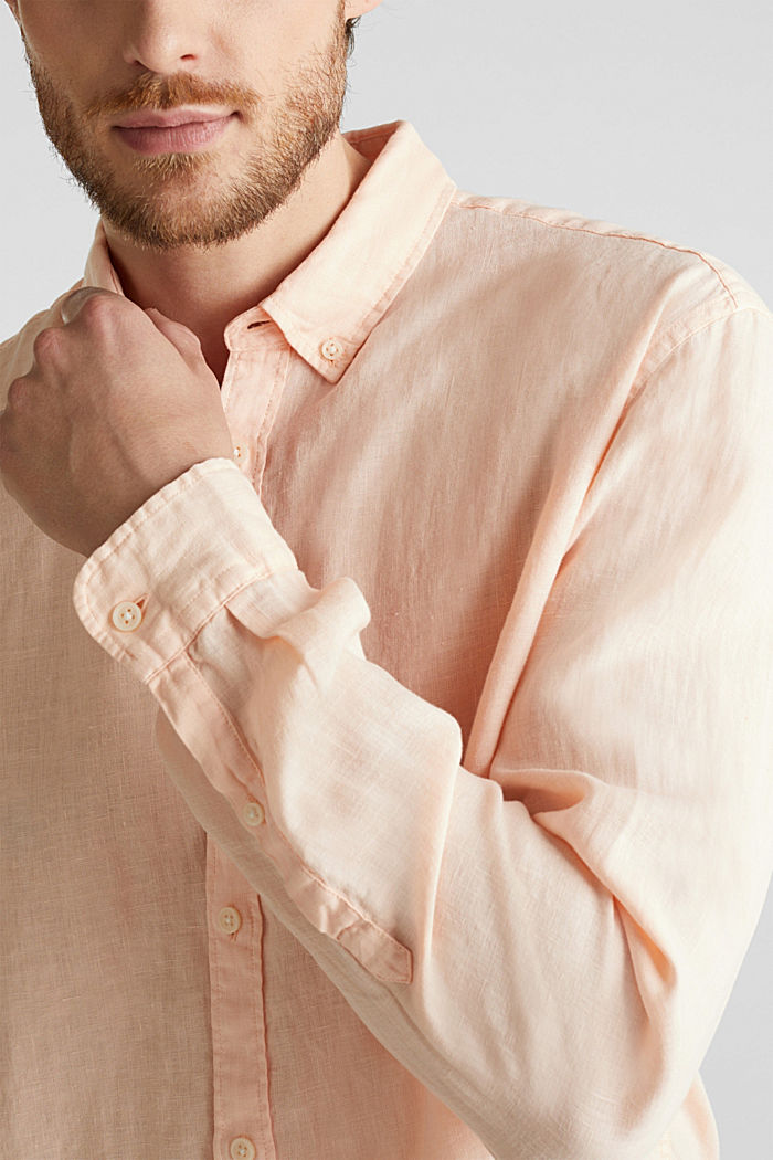 Button-down shirt made of 100% linen, PEACH, detail image number 2