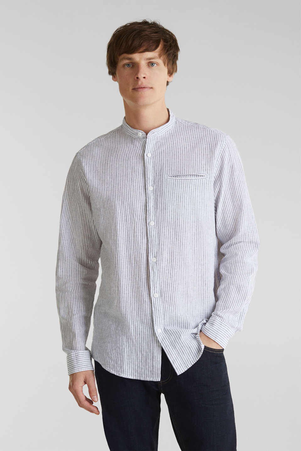 Striped shirt in blended linen, WHITE 3, detail image number 0