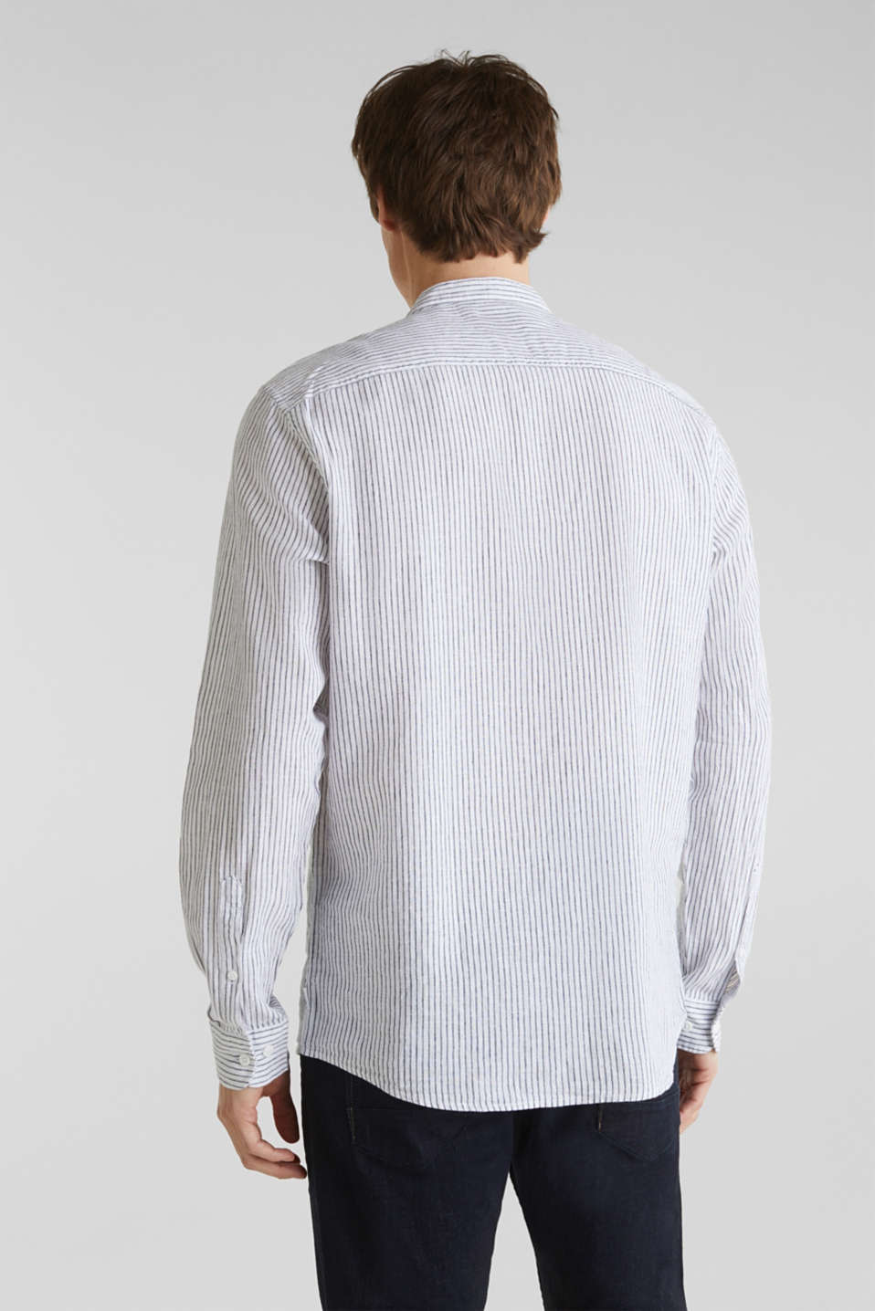 Striped shirt in blended linen, WHITE 3, detail image number 2