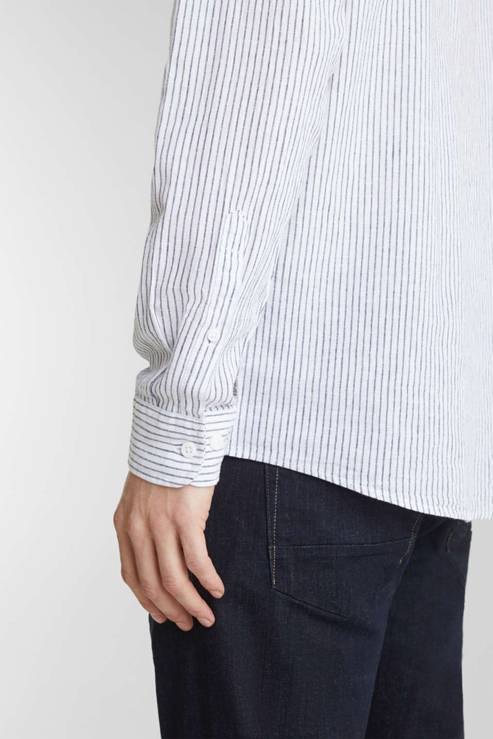 Striped shirt in blended linen, WHITE 3, detail image number 4