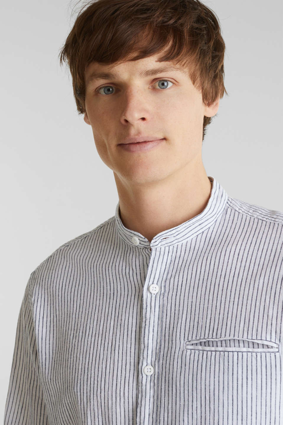Striped shirt in blended linen, WHITE 3, detail image number 6