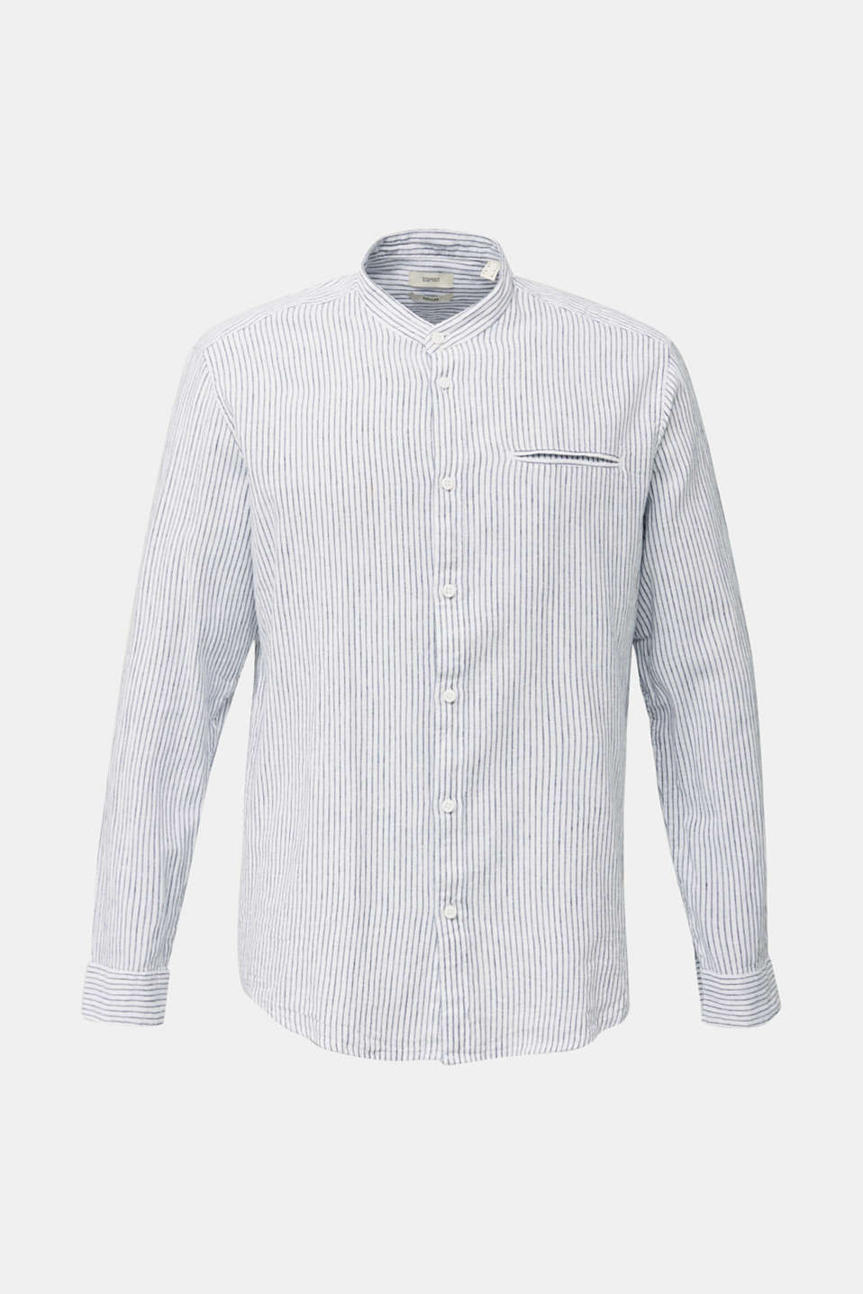 Striped shirt in blended linen, WHITE 3, detail image number 7