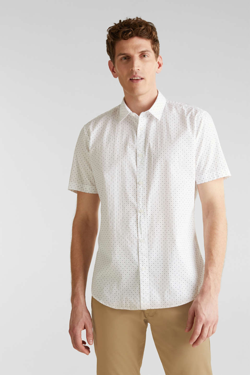 Esprit - Shirt with micro print, 100% organic cotton