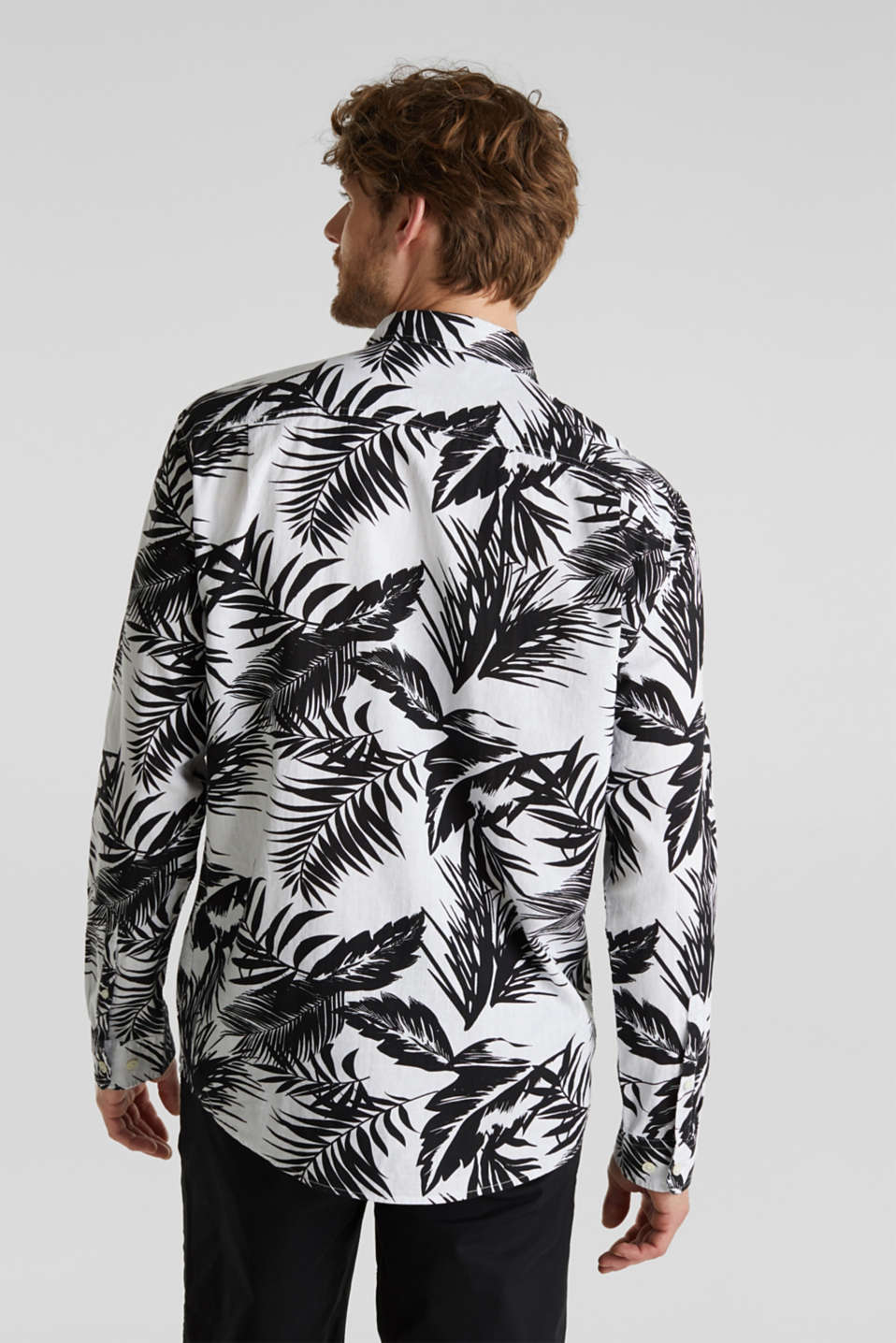Blended linen: shirt with a palm print, WHITE 4, detail image number 3