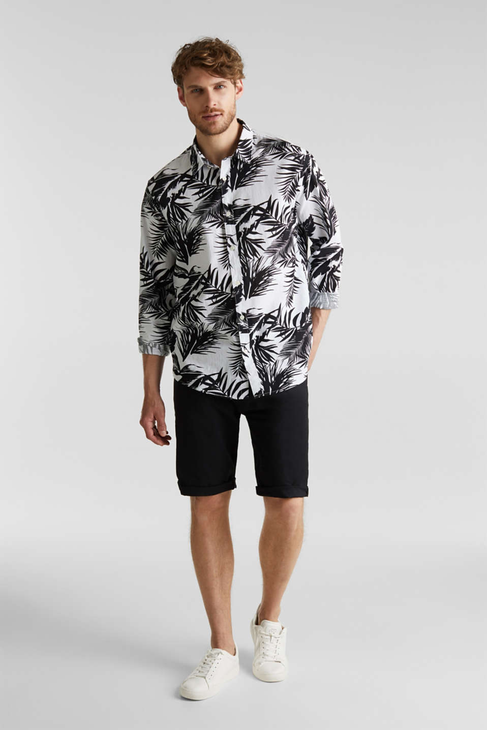 Blended linen: shirt with a palm print, WHITE 4, detail image number 1