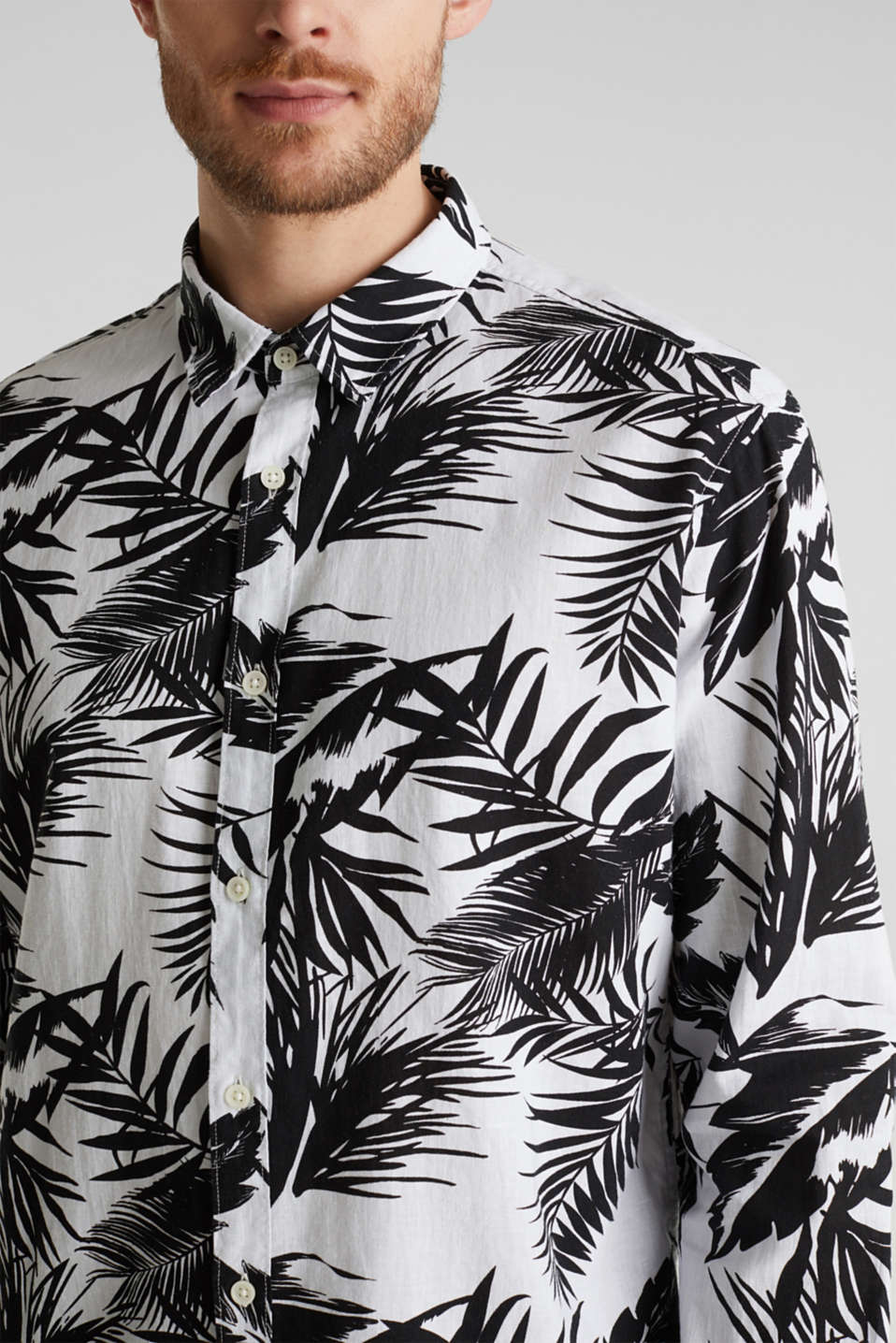 Blended linen: shirt with a palm print, WHITE 4, detail image number 2