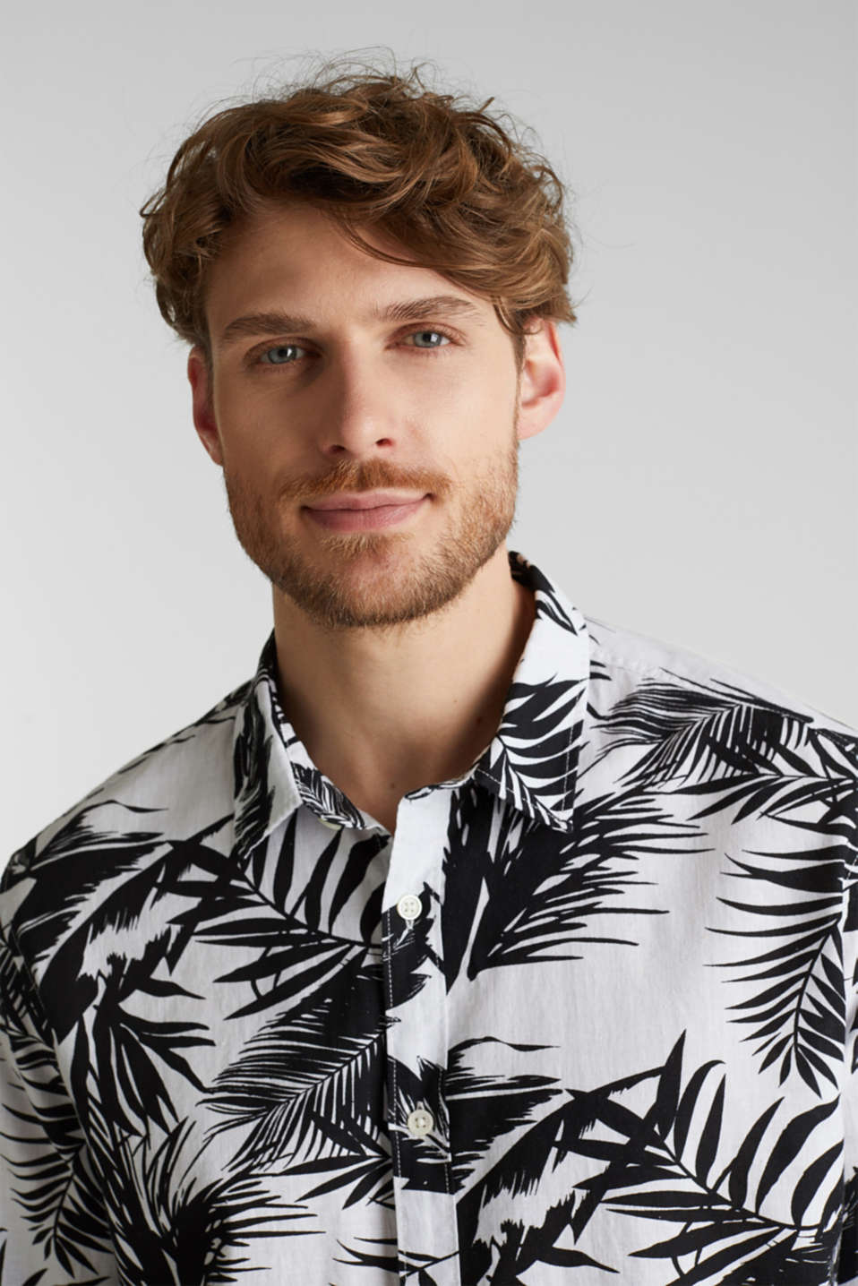 Blended linen: shirt with a palm print, WHITE 4, detail image number 5