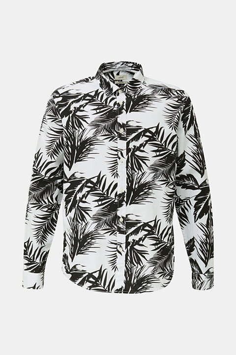Blended linen: shirt with a palm print