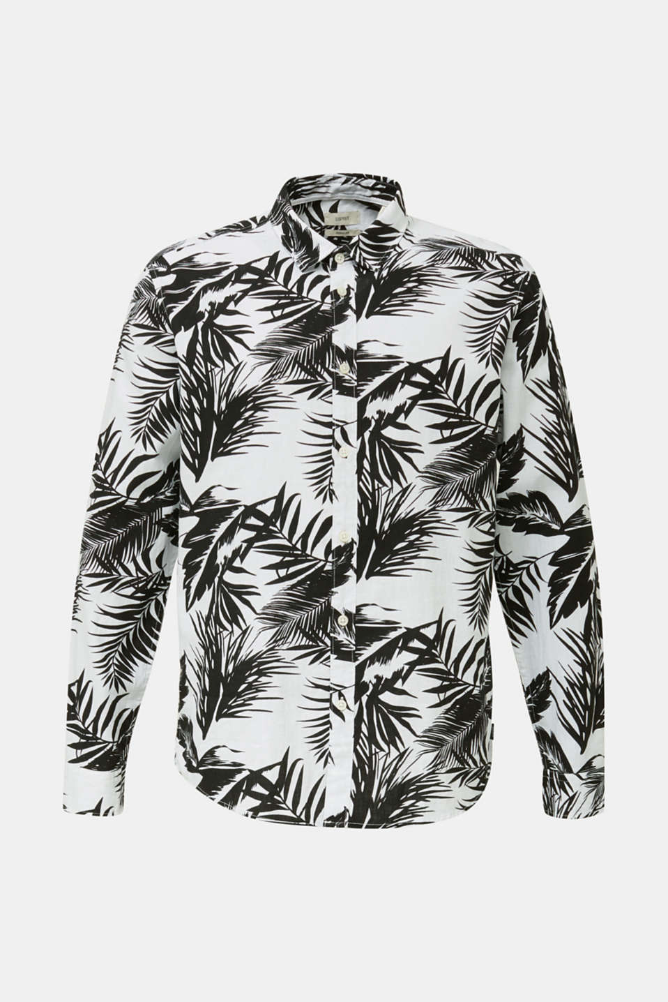Blended linen: shirt with a palm print, WHITE 4, detail image number 7