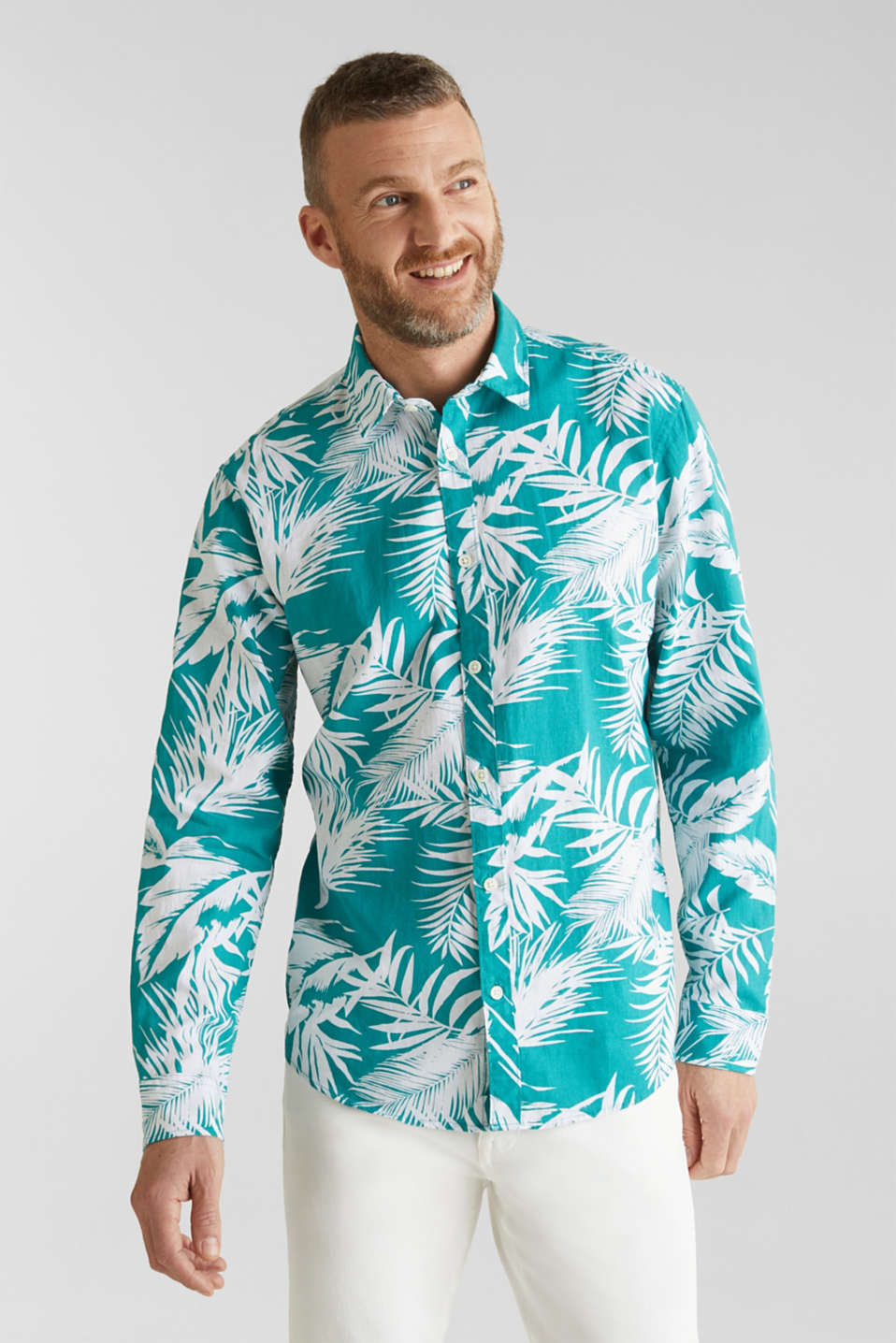 Blended linen: shirt with a palm print, TEAL GREEN 4, detail image number 0