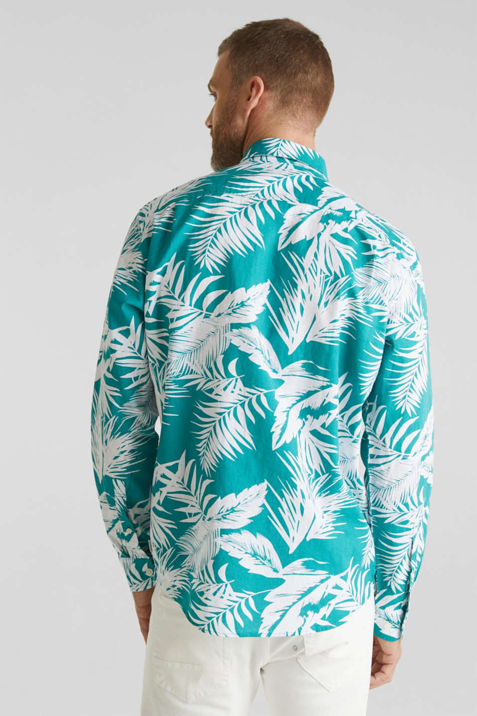 Blended linen: shirt with a palm print, TEAL GREEN 4, detail image number 3