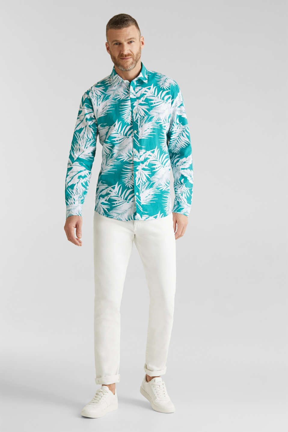 Blended linen: shirt with a palm print, TEAL GREEN 4, detail image number 1