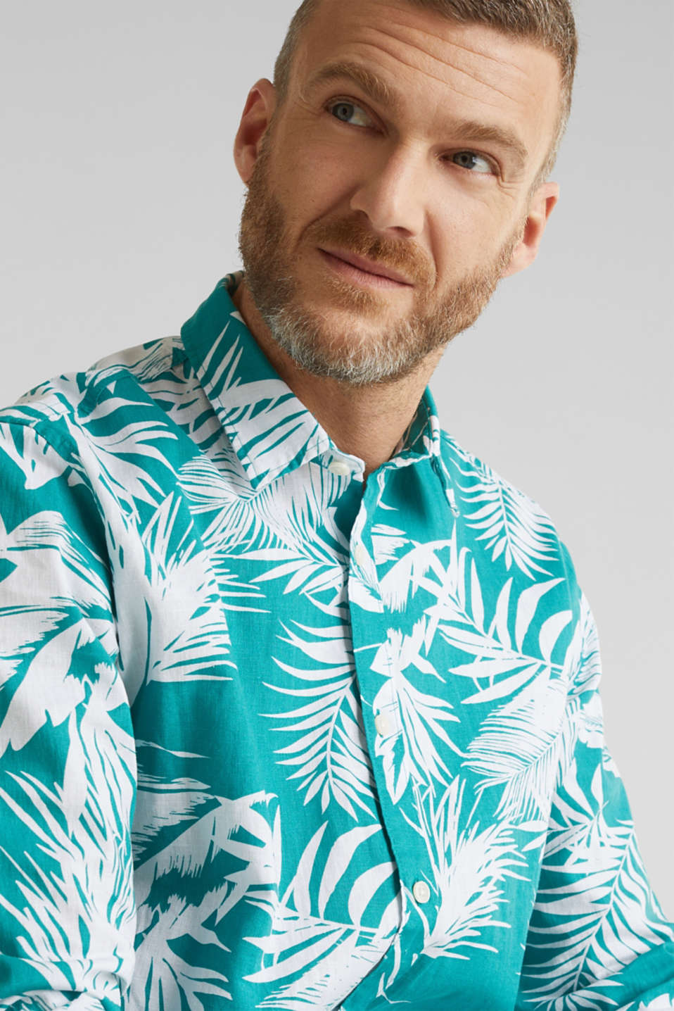 Blended linen: shirt with a palm print, TEAL GREEN 4, detail image number 2