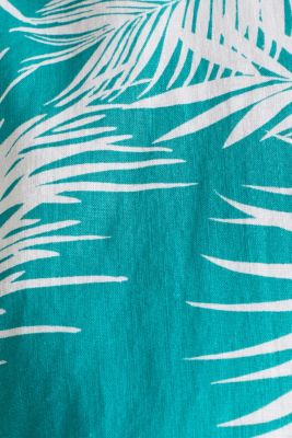 Blended linen: shirt with a palm print, TEAL GREEN 4, detail