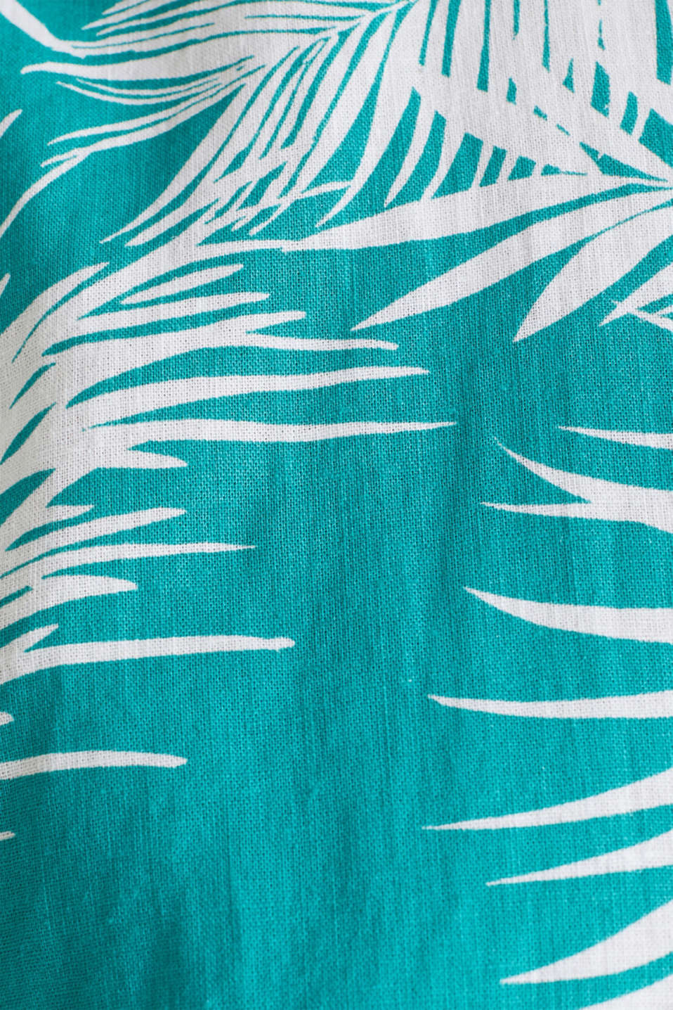 Blended linen: shirt with a palm print, TEAL GREEN 4, detail image number 4