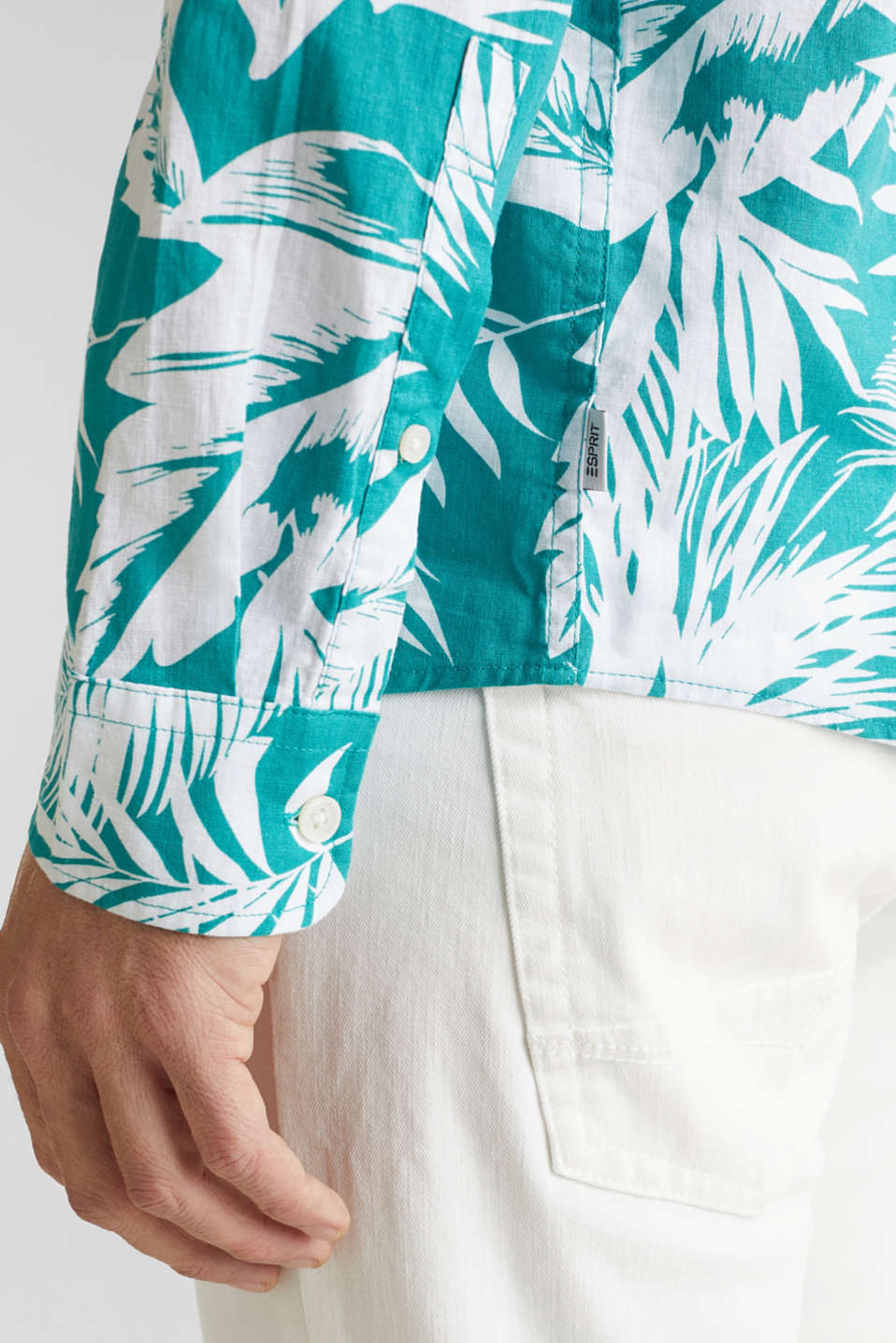 Blended linen: shirt with a palm print, TEAL GREEN 4, detail image number 5