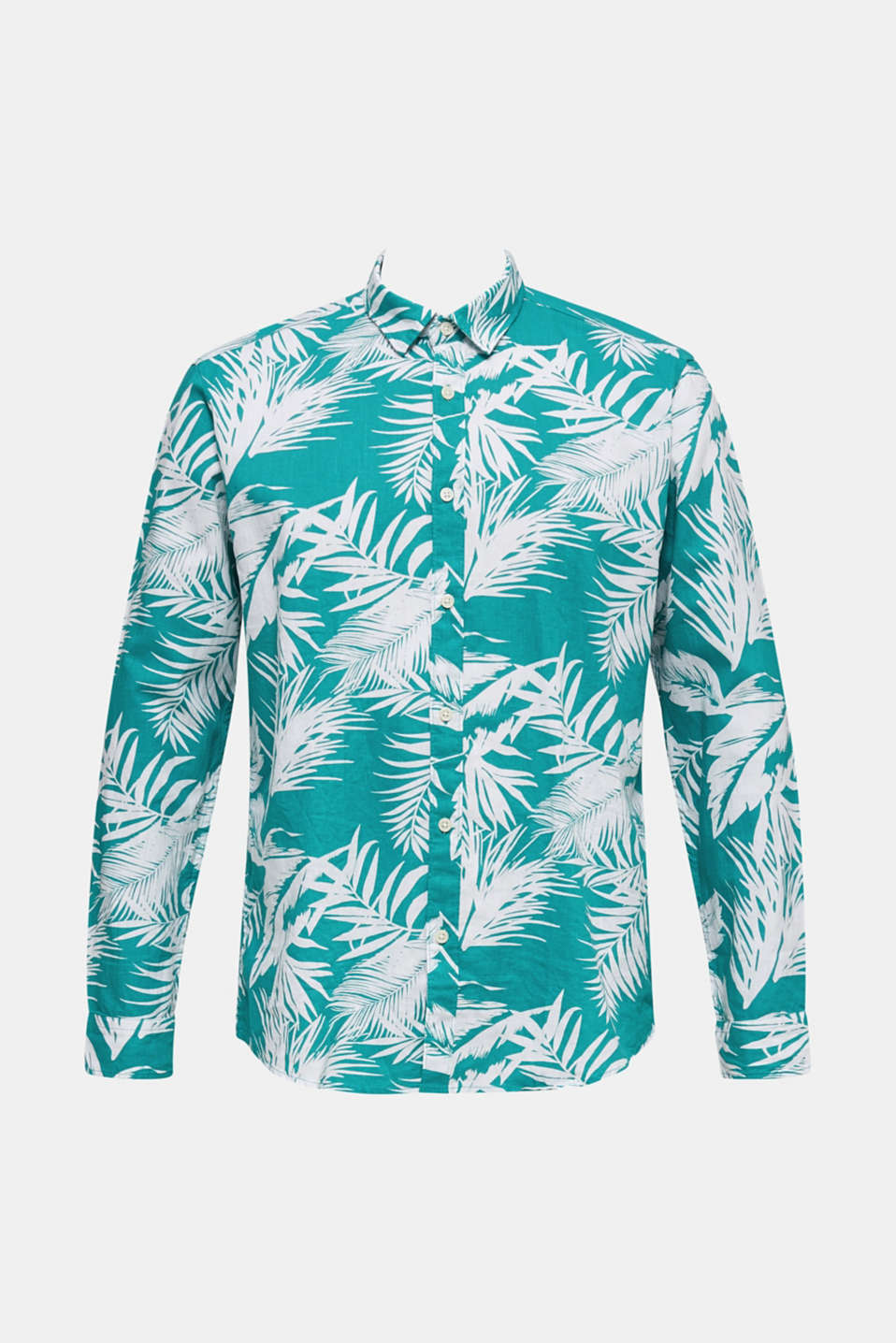 Blended linen: shirt with a palm print, TEAL GREEN 4, detail image number 6