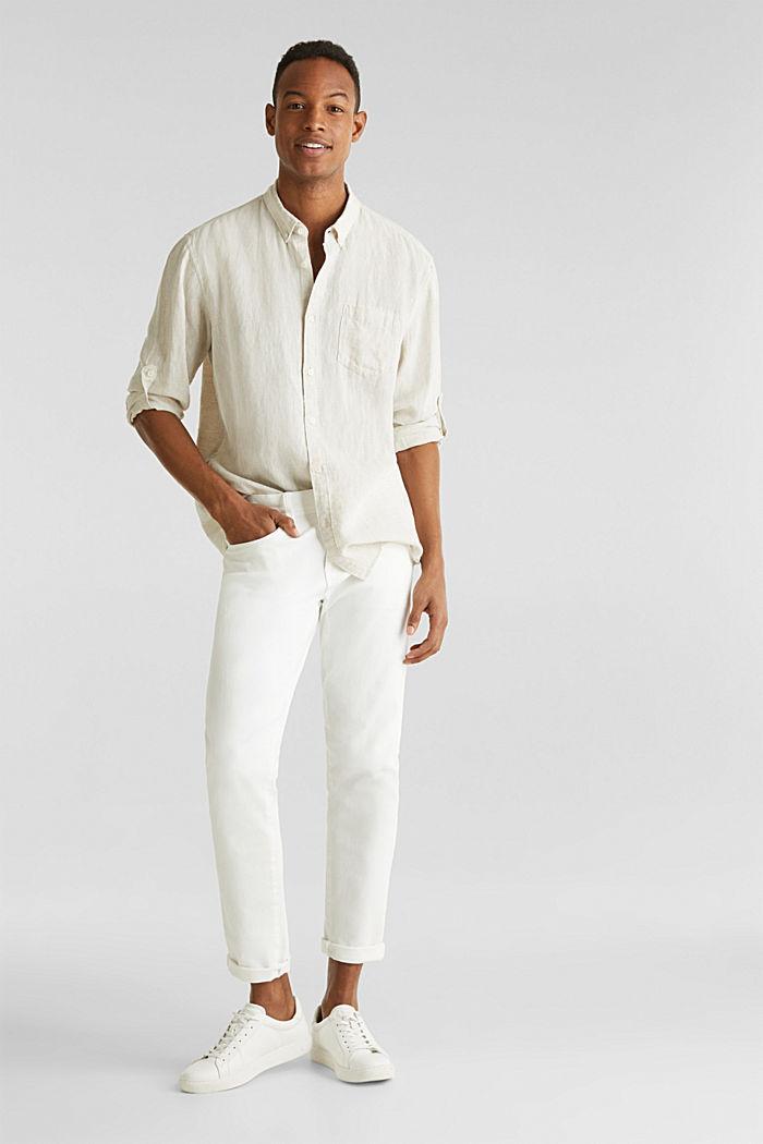 En lin mélangé: la chemise dotée d'un col à pointes boutonnées, TAUPE, detail image number 0