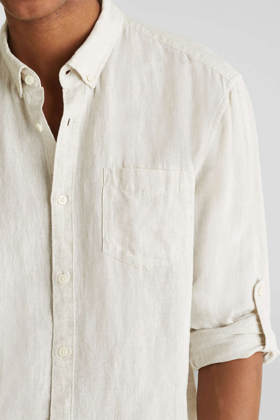 Linen blend: button-down shirt, TAUPE 5, detail image number 1