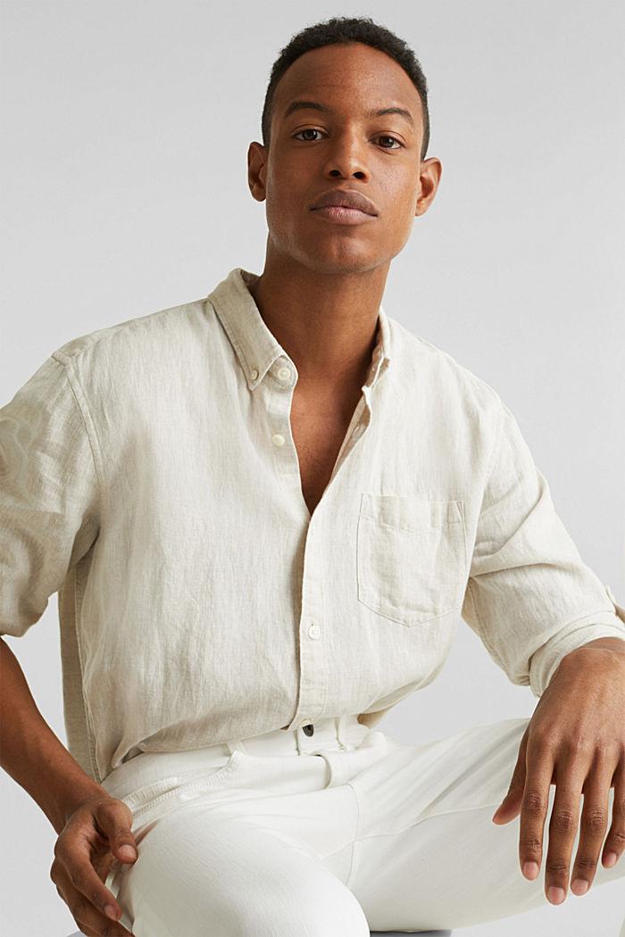 En lin mélangé: la chemise dotée d'un col à pointes boutonnées, TAUPE, detail image number 1