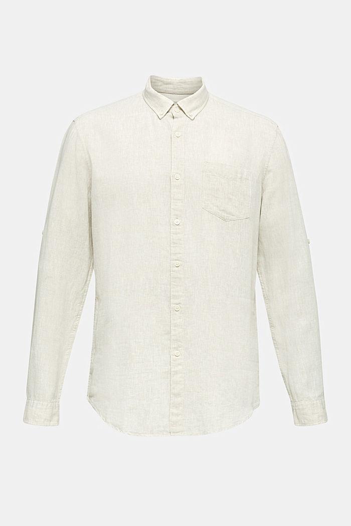 En lin mélangé: la chemise dotée d'un col à pointes boutonnées, TAUPE, detail image number 2
