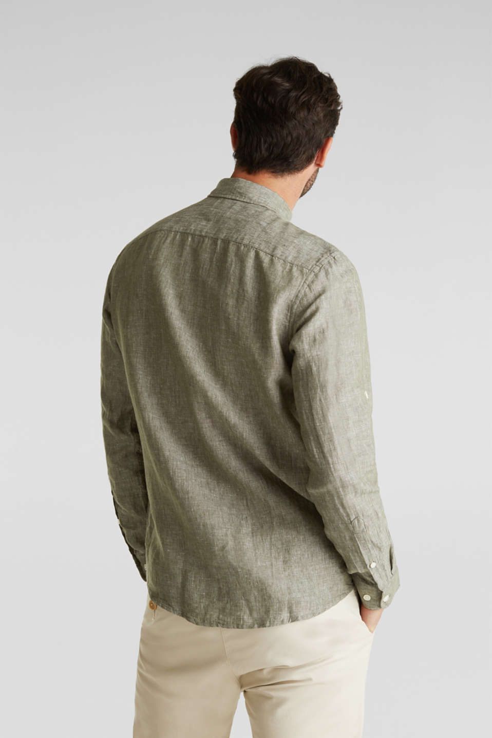 Linen blend: button-down shirt, KHAKI GREEN 5, detail image number 3