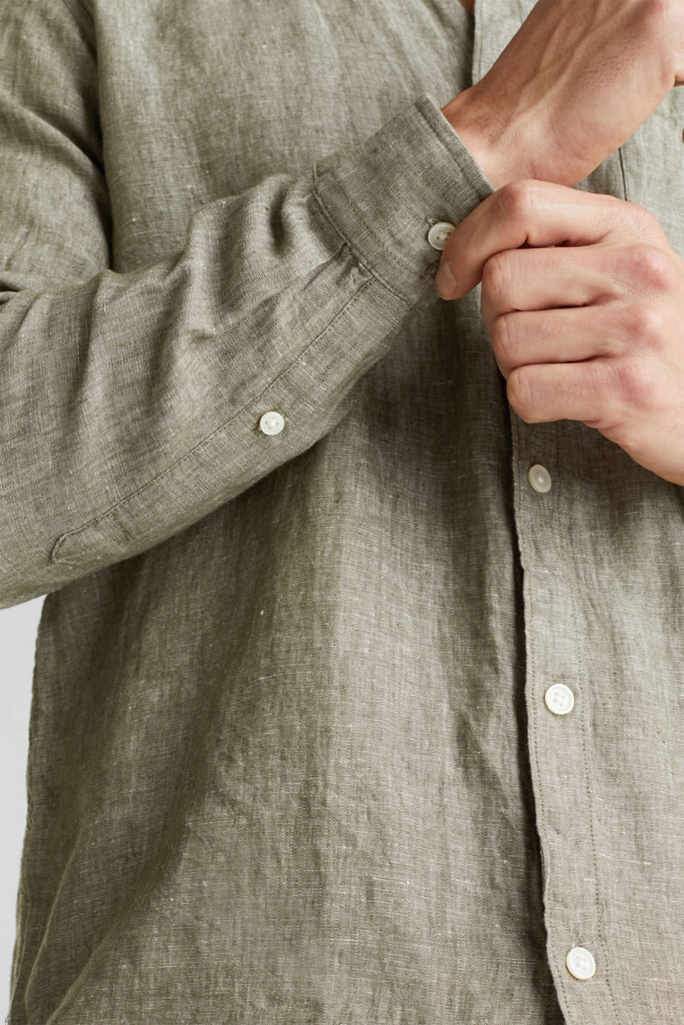 Linen blend: button-down shirt, KHAKI GREEN 5, detail image number 2