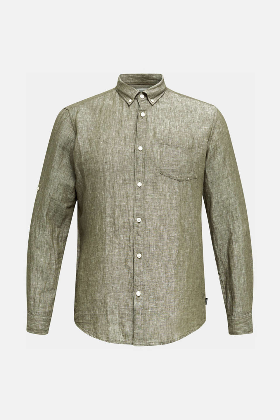 Linen blend: button-down shirt, KHAKI GREEN 5, detail image number 6