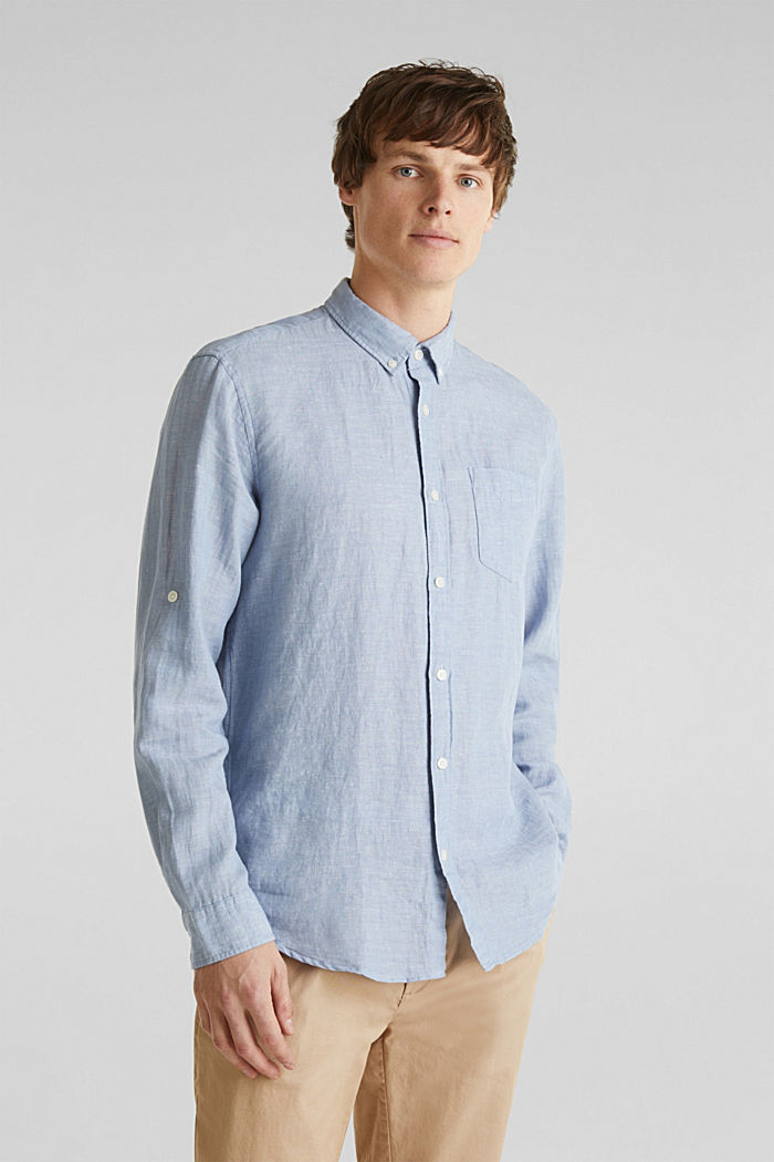 Aus Leinen-Mix: Button-Down-Hemd, LIGHT BLUE, detail image number 0