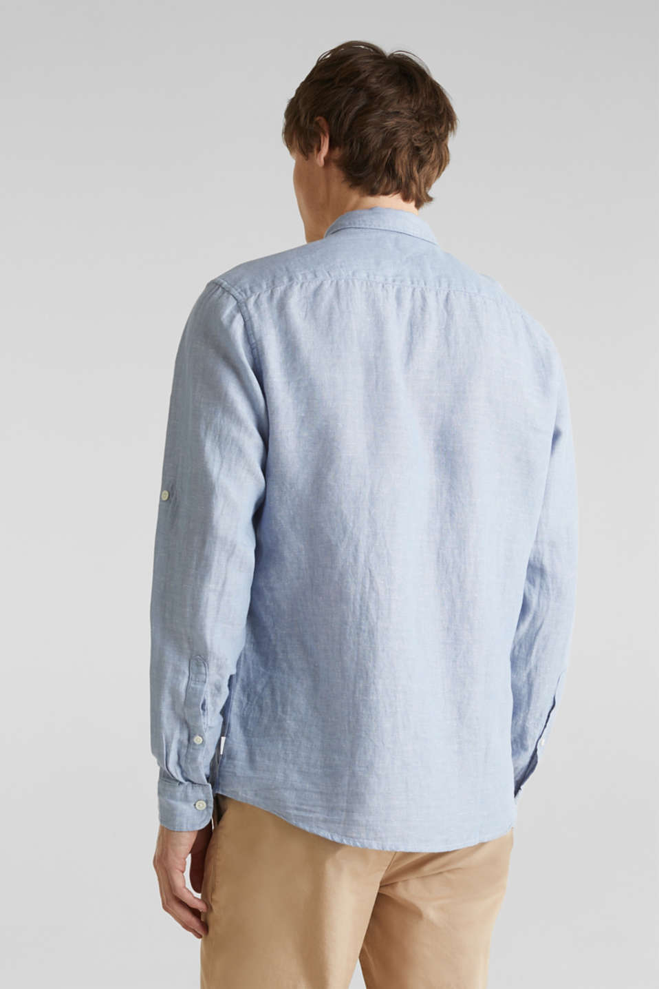 Made of blended linen: shirt with turn-up sleeves, LIGHT BLUE 5, detail image number 3