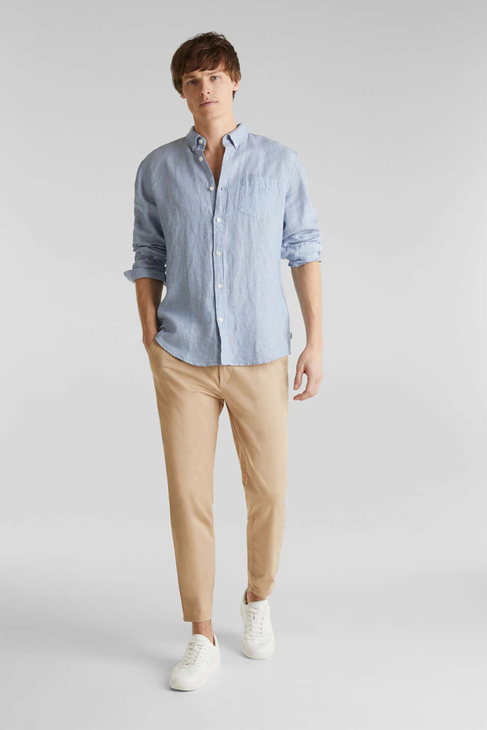 Made of blended linen: shirt with turn-up sleeves, LIGHT BLUE 5, detail image number 1