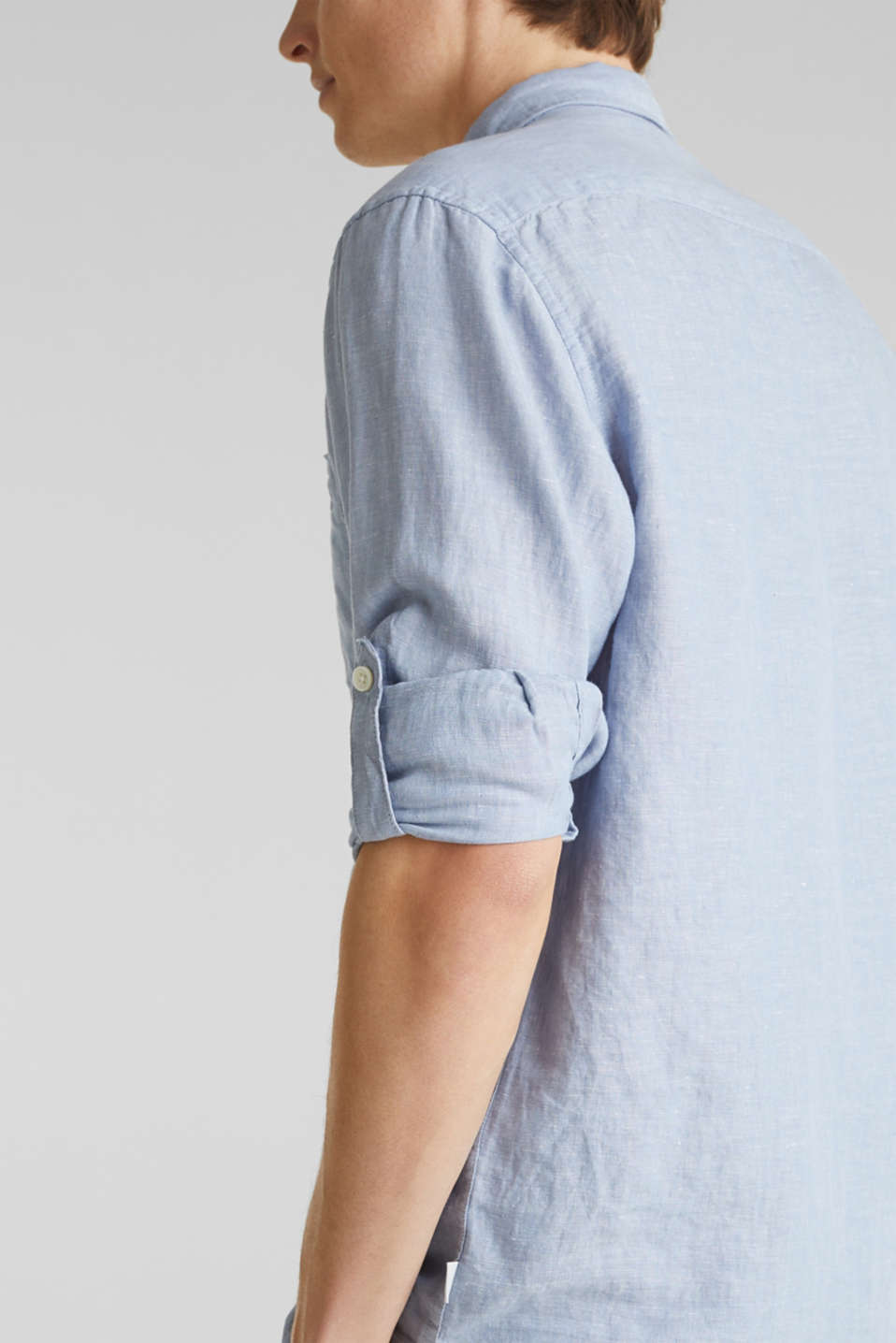 Made of blended linen: shirt with turn-up sleeves, LIGHT BLUE 5, detail image number 2